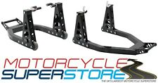 HEAVY DUTY MOTORCYCLE MOTORBIKE FRONT AND REAR ALUMINIUM BOX PADDOCK STAND SET