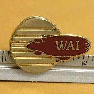 WAI Red Blimp Gold Circle Aviation Lapel Pin NOS