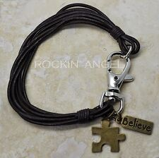 Real Brown Leather Wristband Bracelet w/ Bronze Puzzle & Believe Charm Autism