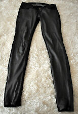 Super Fine Flash Friend Blk Leather & Denim Jeans Pants Super Skinny Sz 29 Italy
