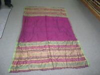 "Antique 1930's Silk Shawl Scarf Natural Dyes Bukhara 75"" x 40"" Ikat Textile"
