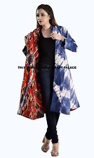 EXQUISITE NEW INDIAN TIE DYE COAT INDIGO BLUE HIPPIE REVERSIBLE JACKET HANDMADE