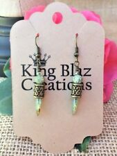 Antique Brass Drop Earrings with Green Leopard Skin Stone with Glass Daggers
