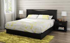 4 Piece Black King Storage Platform Bed Set Home Bedroom Furniture Nightstands