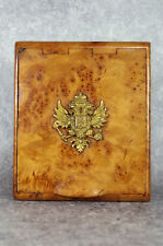 Russian karelian birch cigarette case with imperial two-headed eagles. Russia