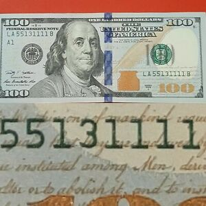 2009A $100 FANCY-ALMOST BINARY, 5×11111 & PAIR OF 5S  SERIAL # 55 13 1111