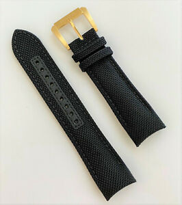 Bulova Precisionist 24mm Black Nylon / Leather Band Strap w/ Gold Buckle 97B178