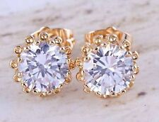 Beautiful 9K Solid Gold Filled 10mm CZ Sunflower Setting Stud Post Earrings