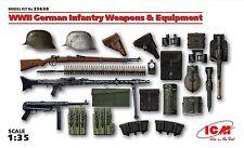 WW II GERMAN INFANTRY WEAPONS & EQUIPMENT (MG34, MP9, K98, AMMO BELTS) 1/35 ICM