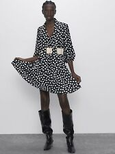 Zara Pleated Black / White Polka Dot Dress With Contrast Cream Belt, Size S