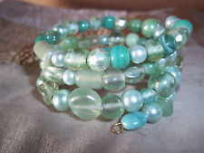 Hand Crafted GREEN Glass BEAD Memory Wire Wrap Bracelet Beach Gypsy D-105