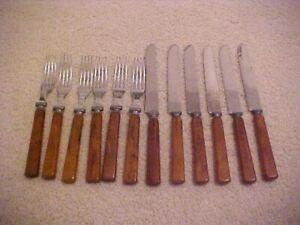VINTAGE BAKELITE HANDLE FLATWARE -MATCHING SET OF 6 KNIVES & 6 FORKS
