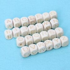 Wood Baby Teething Letter Beads Crafts Accessories Chew Wooden Bead 12mm DIY