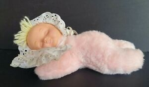 "Vintage 10"" EDEN Plush Musical Sleeping Baby Girl- Wind Up Key Lullaby Infant"