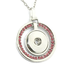 Noosa Style Rose Pink Rhinestone Snap Button Pendant Necklace Fit 18/20mm Chunks