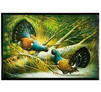 4x6 Trinket Box w/ Wood Grouse Birds Print. Keepsake Russian Lacquer Jewelry Box