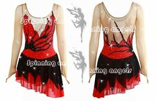 Popuplar Ice skating dress Red Black Figure Skating Dance Baton Twirling