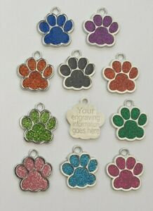 Personalised Engraved quality Glitter Paw Print Dog Tag Pet Tags Reflective 25mm