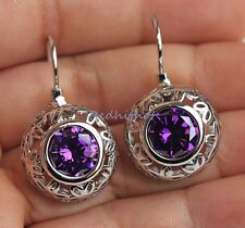 18K White Gold Filled - 1.2' Hollow Flowr Round Amethyst Cocktail Hoop Earrings