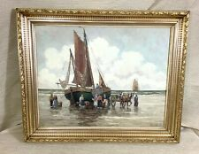 Antique German Impressionist Oil Painting Fishing Boats Beach Hans Harlander