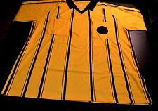 Soccer Futsal Referee Jersey Shirt Yellow & Black Short Sleeve Adult L NIB 157-4
