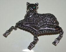 Avon Green Crystal Eyed Cat on Tassel Pillow Silver Tone Metal Pin Brooch
