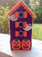 Halloween House tissue box cover, handmade, needlepoint