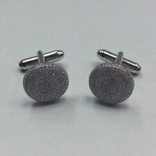 REAL STERLING SILVER Men's Micro Pave Round Shaped Cubic Zirconia CUFFLINKS 7.8g