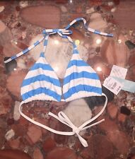 NWT Island Company Martinique Striped Blue Palm Beach Bikini Swimsuit Top L
