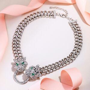 Leopard Panther Necklace Choker Women Animal Rhinestone Neck Chain Silver Tone
