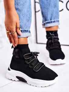 WOMENS TRAINERS FLAT ANKLE SOCK CANVAS KNIT GYM RUNNING LADIES SNEAKERS UK 4