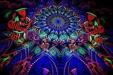 Psychedelic Tapestry Mushroom Psytrance Deco UV Active Bohemian Wall Decor