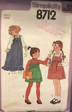 Simplicity 8712 Vtg Girls Blouse, Pullover Jumper Pattern Size 5 breast 24
