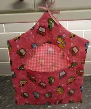 PEG BAG REVERSABLE DURABLE HAND MADE FULLY WASHABIE COMIC CARS / PINK GINGHAM