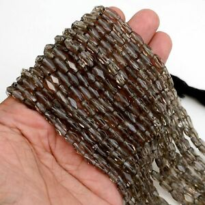 13 Inch AAA+100% Natural Smokey Quartz Faceted Rectangle Beads 1 Strand Z43