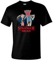 Stranger Ricks Funny T-Shirt Animated Cartoon Mash Up Mens Comedy T-Shirt