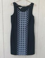 Tommy Bahama Women's Black White Embroidered Sleeveless Sheath Dress Size 8