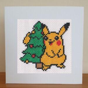 Pokemon Christmas Card - Pikachu & Tree - Cross Stitch Kit