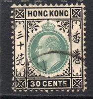 Hong Kong 30 Cent Stamp Dark Green & Black c1903 Used  (3142)