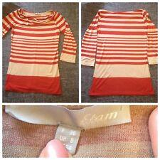 T-shirt rayée à manches 3/4, Etam, taille 36, beige/orange.