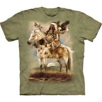 Native American Spirit Horse Green Wolf Eagle Bison T-Shirt Mountain Cotton S-3X