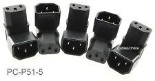 5-Pack Right-Angle UP IEC 320 C14 Male to IEC 320 C13 Female Power Adapters