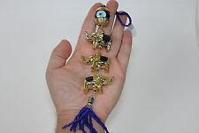 Triple Lucky Elephant Trunk Up Evil Eye Hanger Charm Gold Blue Tassel Feng Shui