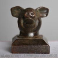 4CM Chine Antique Bronze Dynastie Animal Tête De Cochon Impérial Sceau Sceau