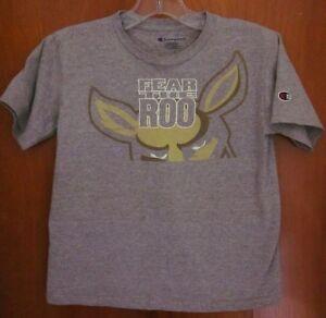 UNIVERSITY AKRON Zips youth small T shirt OHIO tee Fear the Roo kangaroo