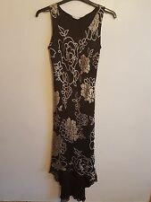 BERKERTEX - Ladies Womens Girls Brown Floral Design Sleeveless Dress Size 10