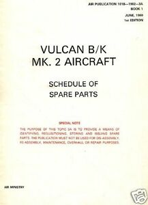 VULCAN BOMBER B.2 PARTS MANUAL RARE schematic details 1960's historic RAF 100
