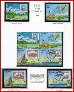 👉 PALAU 1985 LINKS WITH GERMANY MNH SHIPS, STAMP ON STAMP, PALM TREES (P-AL)