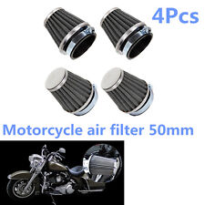 4Pcs 50mm Motorcycle Tapered Chrome Pod Air Filters Clean Mushroom Head Cleaner