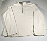 SJB Women's Active Fleece Jacket Size Large Cream 1/4 Zipper Long Sleeves